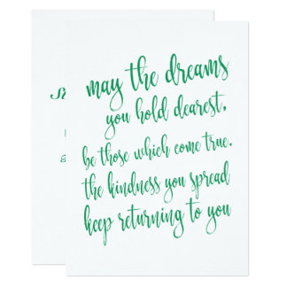 Cool Emerald Green St Patrick's Day Party Script Card