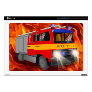 "Cool Emergency Fire Engine Cartoon Design for Kids Decals For 17"" Laptops"