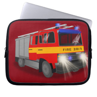 Cool Emergency Fire Engine Cartoon Design for Kids Laptop Computer Sleeve
