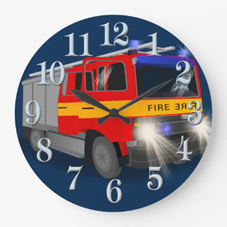 Cool Emergency Fire Engine Cartoon Design for Kids Large Clock
