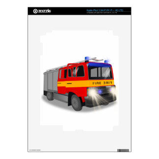 Cool Emergency Fire Engine Cartoon Design for Kids Skin For iPad 3