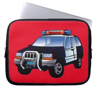 Cool Emergency Police Car Cartoon Design for Kids Computer Sleeve