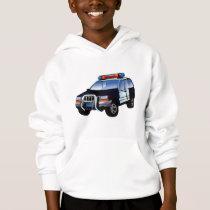 Cool Emergency Police Car Cartoon Design for Kids Hoodie