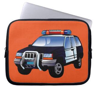 Cool Emergency Police Car Cartoon Design for Kids Laptop Sleeve