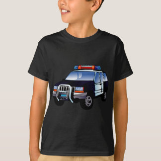 Cool Emergency Police Car Cartoon Design for Kids T-Shirt