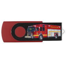 Cool Emergency Vehicle Fire Engine Fire-truck Swivel USB 2.0 Flash Drive