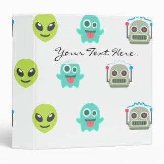 Cool Emoji Alien Ghost Robot Face Pattern 3 Ring Binder