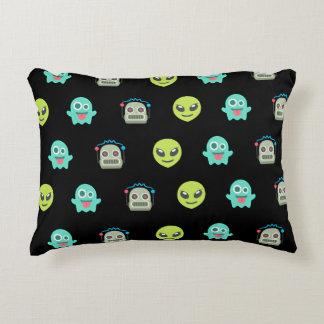 Cool Emoji Alien Ghost Robot Face Pattern Accent Pillow