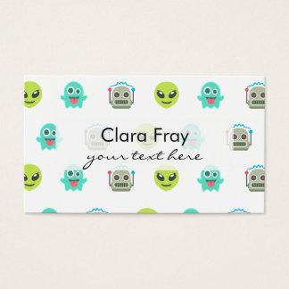 Cool Emoji Alien Ghost Robot Face Pattern Business Card