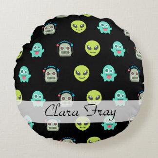 Cool Emoji Alien Ghost Robot Face Pattern Round Pillow