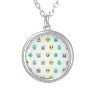 Cool Emoji Alien Ghost Robot Face Pattern Silver Plated Necklace