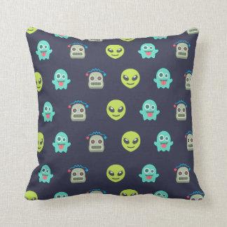Cool Emoji Alien Ghost Robot Face Pattern Throw Pillow