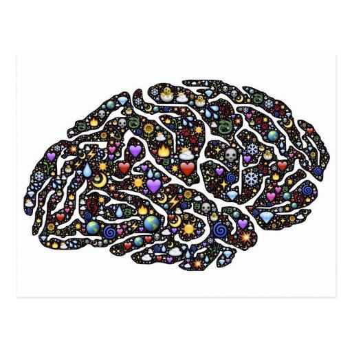 cool emoji brain pattern design postcard