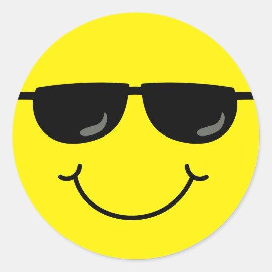 cool emoji face with sunglasses classic round sticker