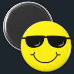 """Cool Emoji Face with Sunglasses Magnet<br><div class=""""desc"""">The yellow emoji face on this magnet is smiling,  wearing black sunglasses and feeling cool.</div>"""
