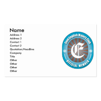 Cool English Majors Club Double-Sided Standard Business Cards (Pack Of 100)