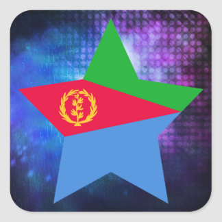 Cool Eritrea Flag Star Square Sticker
