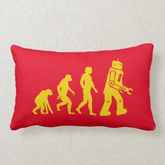 Cool evolution of ape to Man, Man to robot diagram Lumbar Pillow