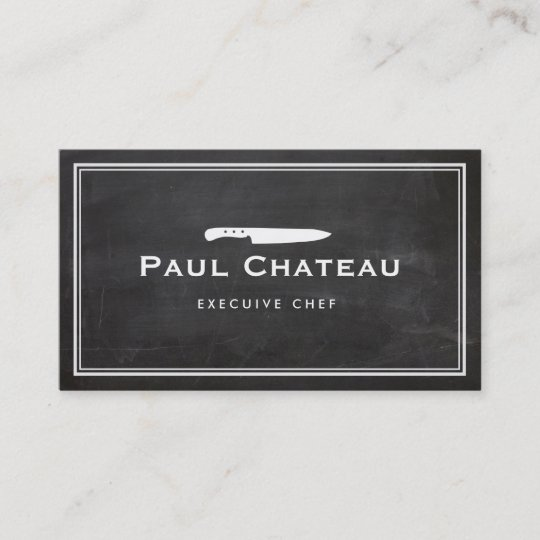 Cool executive chef knife blogo black chalkboard business card cool executive chef knife blogo black chalkboard business card reheart Image collections