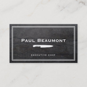 Chef business cards zazzle cool executive chef knife logo black granite business card colourmoves