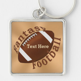 Cool Fantasy Football Gifts Personalized Your TEXT Silver-Colored Square Keychain