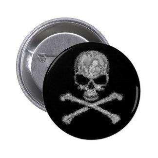 Cool fantasy skull and crossbones button