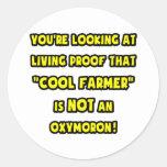 Cool Farmer Is NOT an Oxymoron Round Sticker