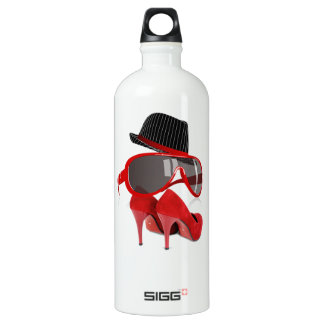Cool fashion ladies red hat shoes & glasses aluminum water bottle