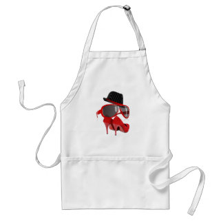 Cool fashion ladies red hat shoes & glasses adult apron