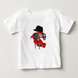 Cool fashion ladies red hat shoes & glasses baby T-Shirt