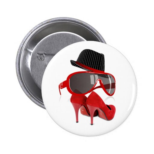 Cool fashion ladies red hat shoes & glasses button
