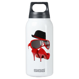 Cool fashion ladies red hat shoes & glasses insulated water bottle