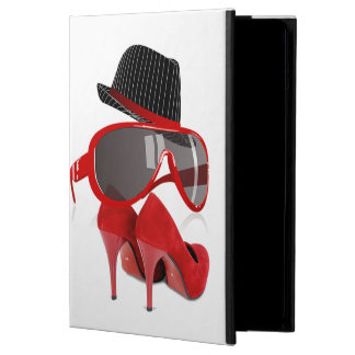 Cool Fashion ladies red hat shoes & glasses Cover For iPad Air