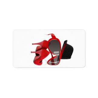 Cool Fashion ladies red hat shoes & glasses Label