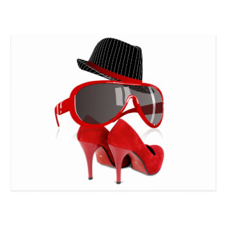 Cool fashion ladies red hat shoes & glasses postcard