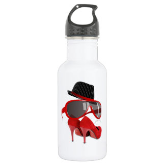 Cool fashion ladies red hat shoes & glasses stainless steel water bottle