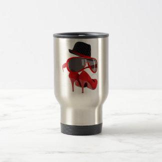 Cool fashion ladies red hat shoes & glasses travel mug