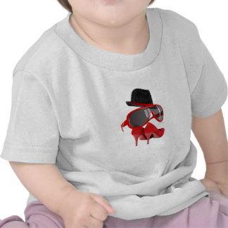 Cool fashion ladies red hat shoes & glasses shirt