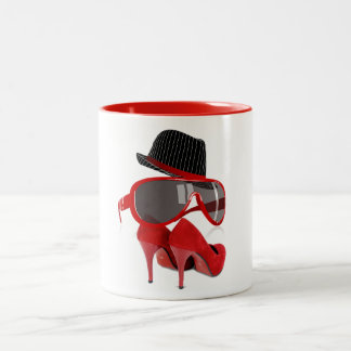 Cool fashion ladies red hat shoes & glasses Two-Tone coffee mug