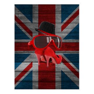 Cool fashion red hat shoes glasses union jack flag postcard