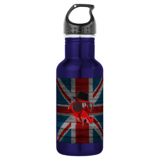 Cool fashion red hat shoes glasses union jack flag stainless steel water bottle
