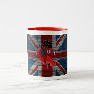 Cool fashion red hat shoes glasses union jack flag Two-Tone coffee mug