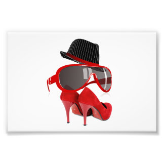 Cool Fashion red ladies hat shoes & glasses Photo Print