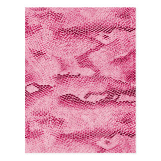 Cool fashionable girly hot pink snake skin image postcards