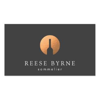 Cool Faux Copper Wine Bottle Logo Sommelier Gray Business Card