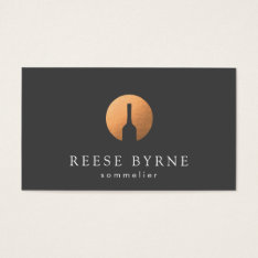 Cool Faux Copper Wine Bottle Logo Sommelier Gray Business Card at Zazzle