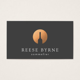 Cool Faux Copper Wine Bottle Logo Sommelier Gray Business Card