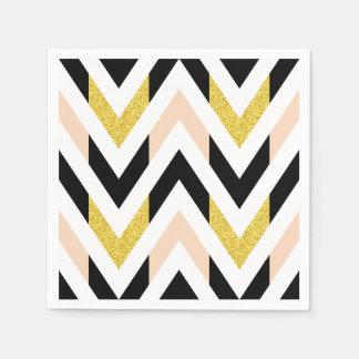 Cool Faux Glitter Gold, Black, Peach Pink Chevron Paper Napkin