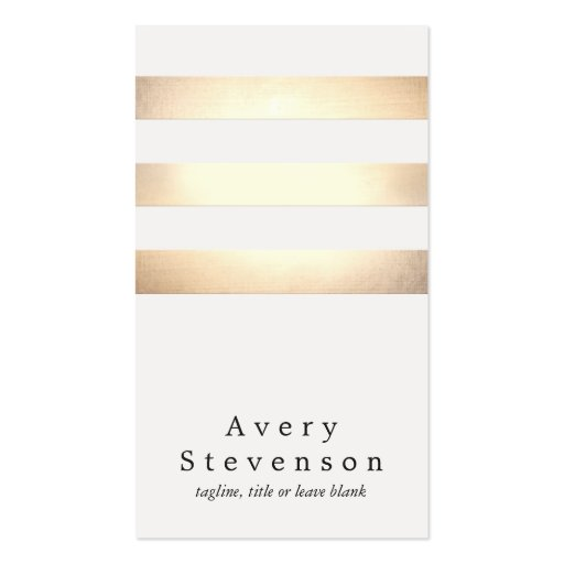 Cool Faux Gold Foil and White Striped Modern Double-sided Standard Business Cards (pack Of 100)