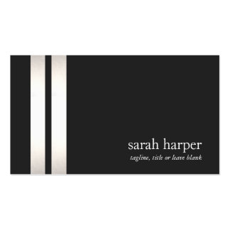 Cool Faux Silver Foil and Black Striped Modern 2 Business Card Templates